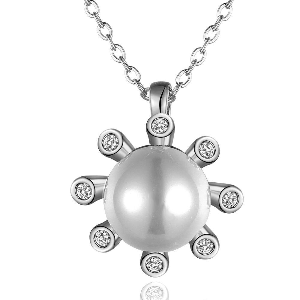 Vienna Jewelry White Gold Plated Pearl Snowflake Necklace
