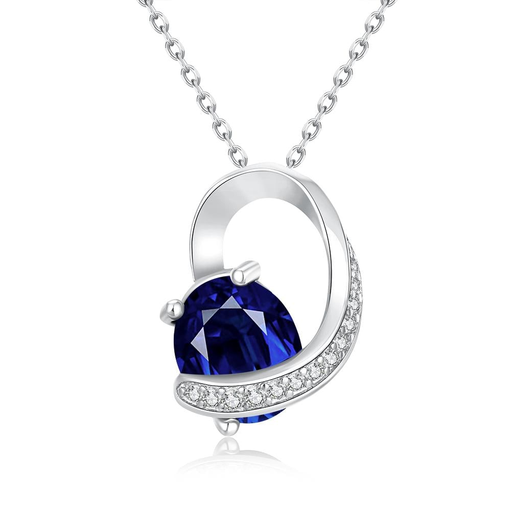 Vienna Jewelry White Gold Plated Saphire Insert Necklace