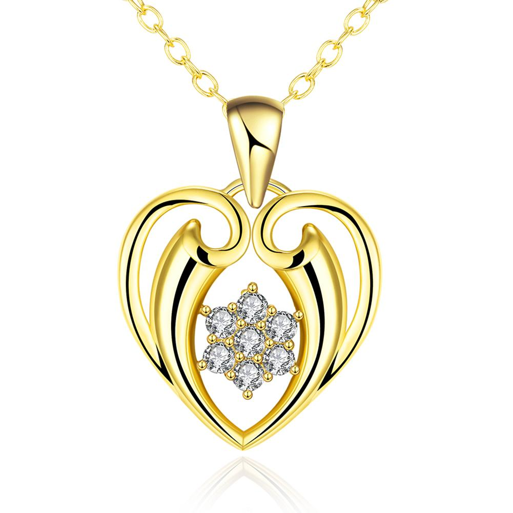 Vienna Jewelry Gold Plated Hollow Valentines Necklace