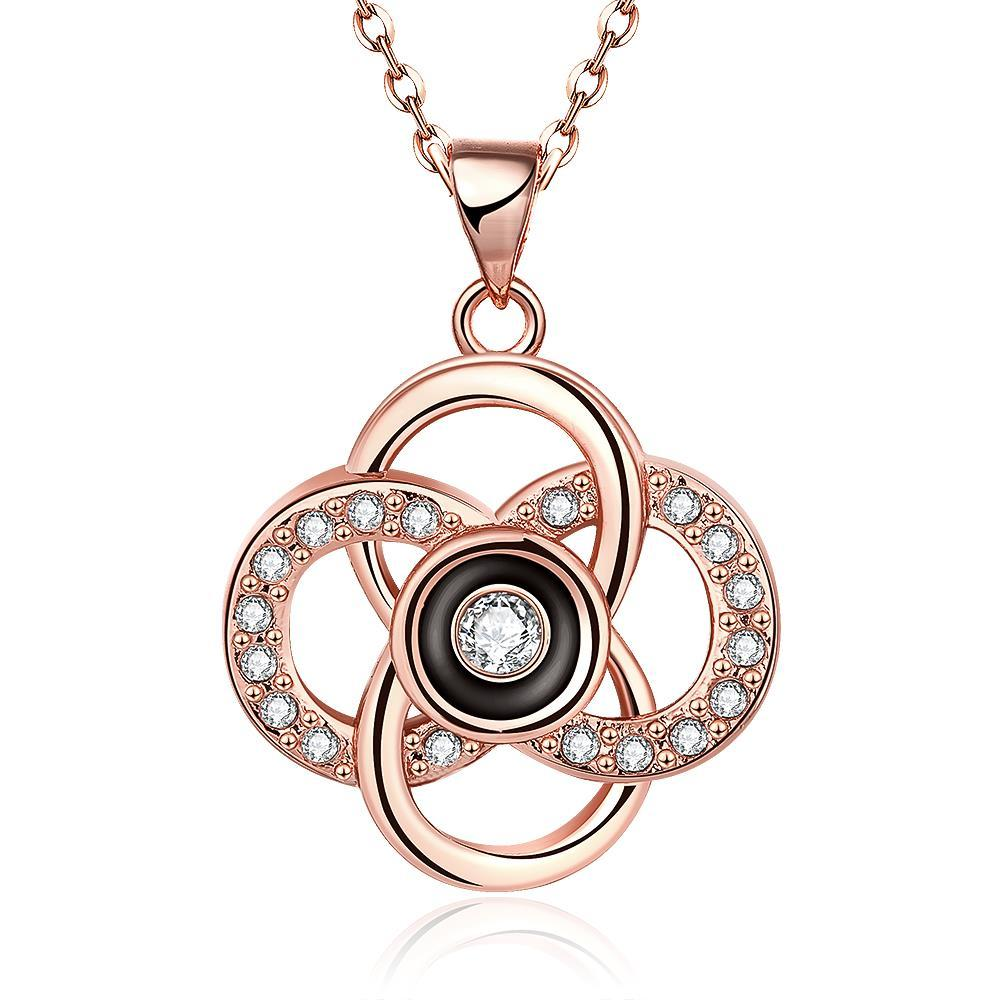 Vienna Jewelry Rose Gold Plated Spiral Intertwined Pendant Necklace