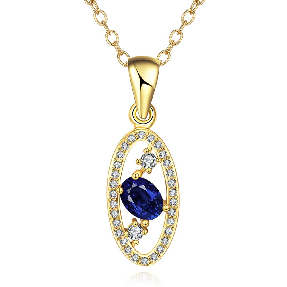 Vienna Jewelry Gold Plated Saphire Trio Gem Necklace