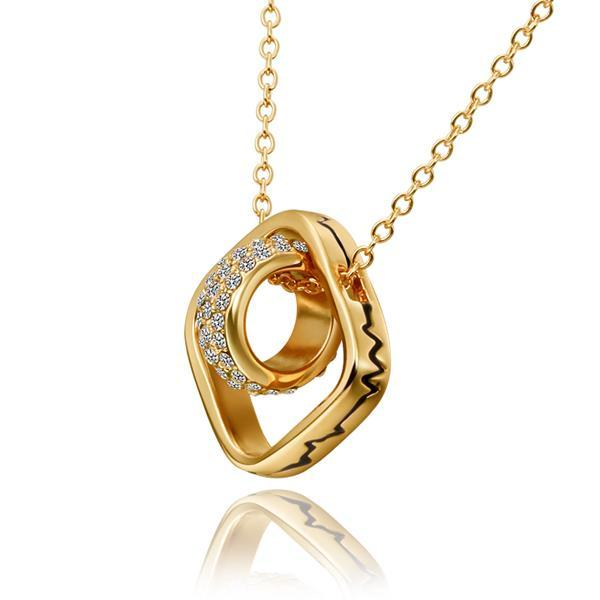 Vienna Jewelry Gold Plated Rolling Rocks Emblem Necklace