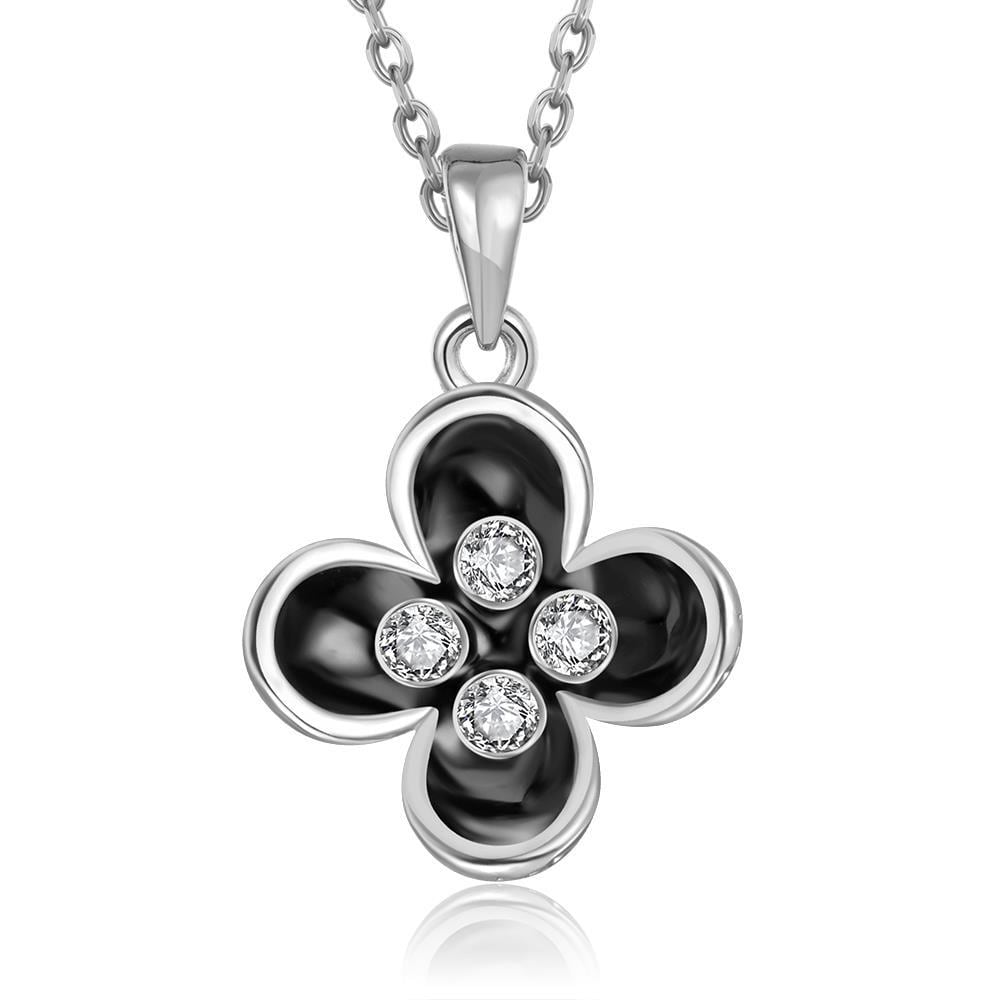 Vienna Jewelry White Gold Plated Quad-Clover Petals Necklace