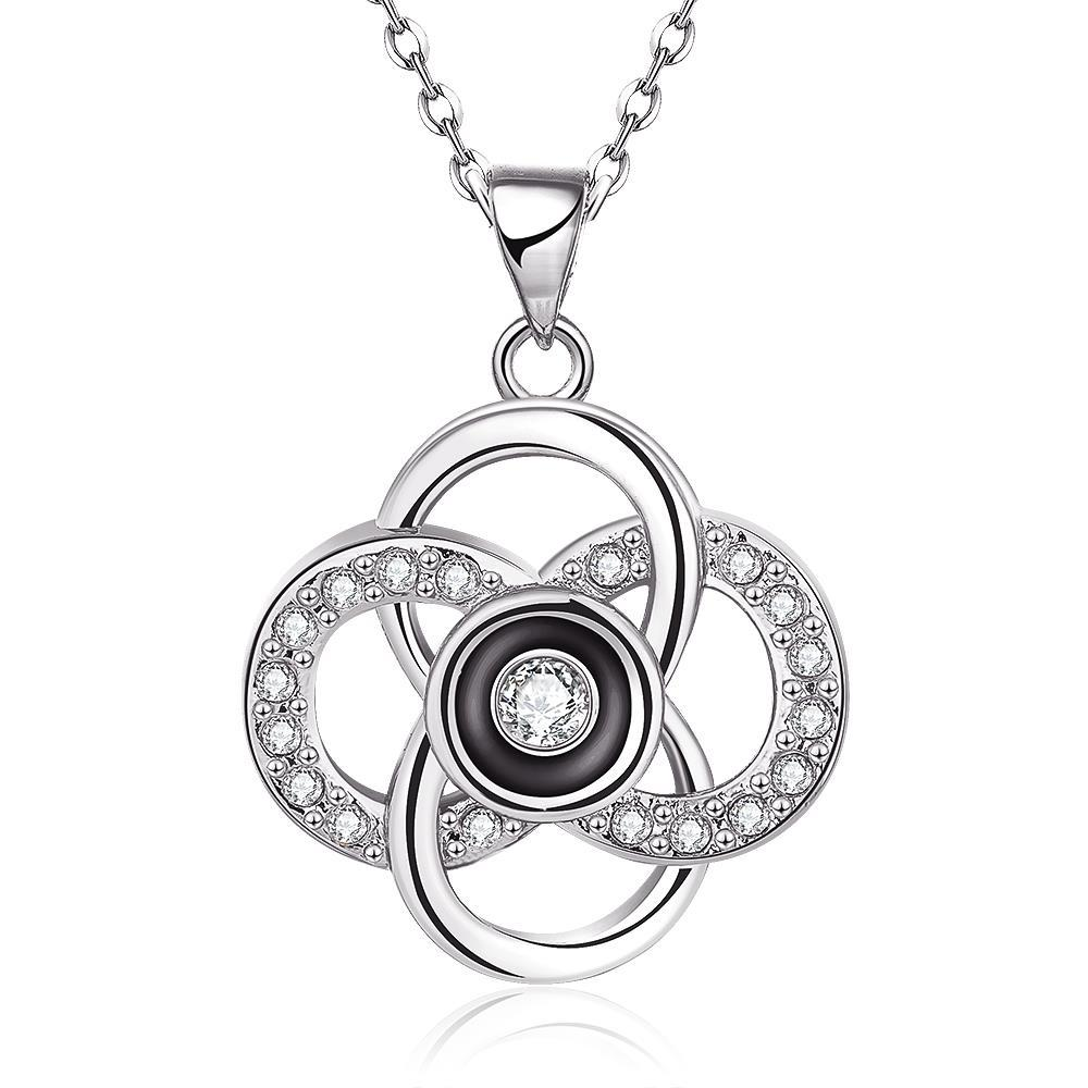 Vienna Jewelry White Gold Plated Spiral Intertwined Pendant Necklace