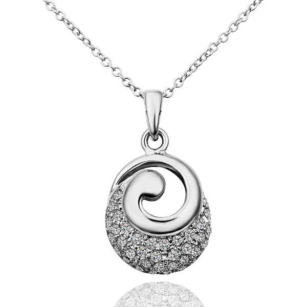Vienna Jewelry White Gold Plated Spiral Circle Emblem Necklace