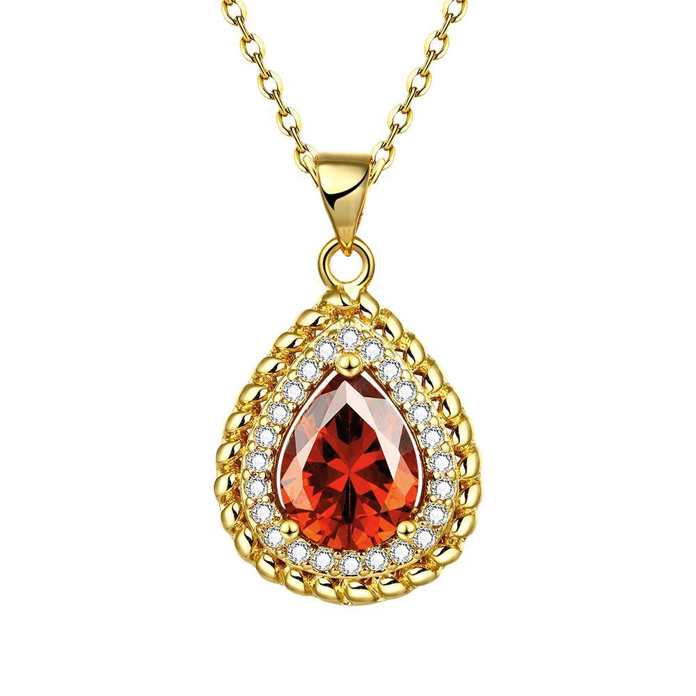 Vienna Jewelry Gold Plated Pyramid Ruby Gem Necklace