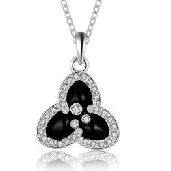 Vienna Jewelry White Gold Plated Trio-Petals Drop Necklace - Thumbnail 0