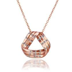 Vienna Jewelry Rose Gold Plated Curved Triangular Emblem Necklace - Thumbnail 0