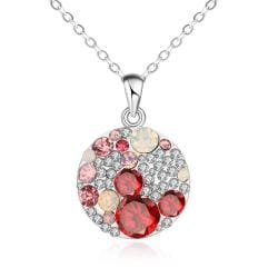 Vienna Jewelry Gold Plated Ruby Fusion Necklace - Thumbnail 0