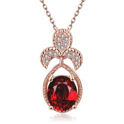 Vienna Jewelry Rose Gold Plated Trio Petals Ruby Pendant Necklace