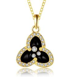 Vienna Jewelry Gold Plated Trio-Petals Drop Necklace - Thumbnail 0