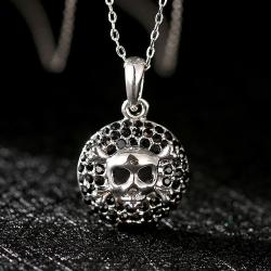 Vienna Jewelry White Gold Skull & Bones Emblem Necklace - Thumbnail 0