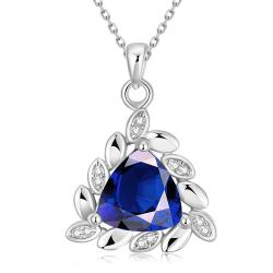 Vienna Jewelry White Gold Plated Triangular Saphire Necklace - Thumbnail 0
