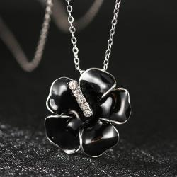 Vienna Jewelry White Gold Plated Onyx Floral Petal with Crystal Lining Necklace - Thumbnail 0