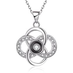 Vienna Jewelry White Gold Plated Spiral Intertwined Pendant Necklace - Thumbnail 0
