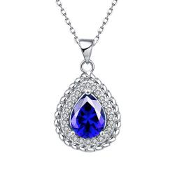Vienna Jewelry White Gold Plated Pyramid Saphire Gem Necklace - Thumbnail 0