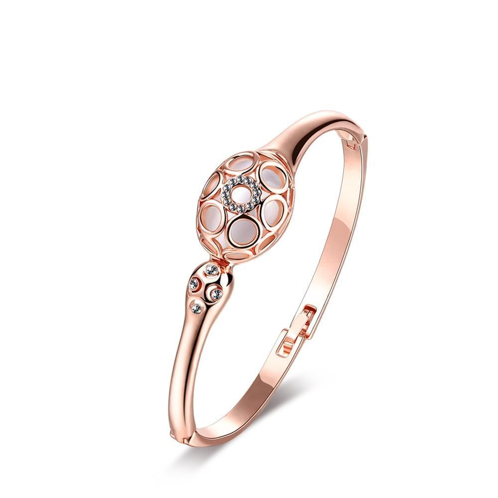 Vienna Jewelry 18K Rose Gold with Hollow Centerpiece Emblem Bangle with Austrian Crystal Elements