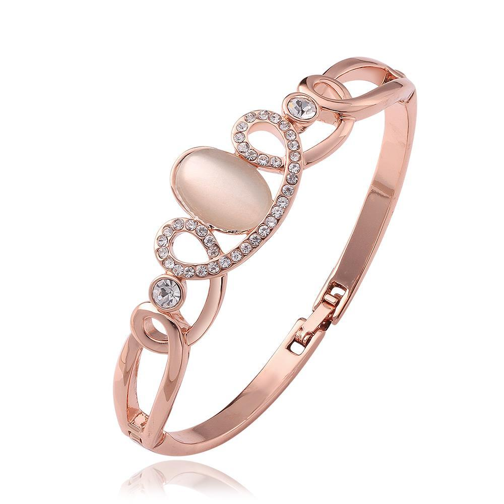 Vienna Jewelry 18K Rose Gold Swirl Design Bangle with Austrian Crystal Elements - Thumbnail 0