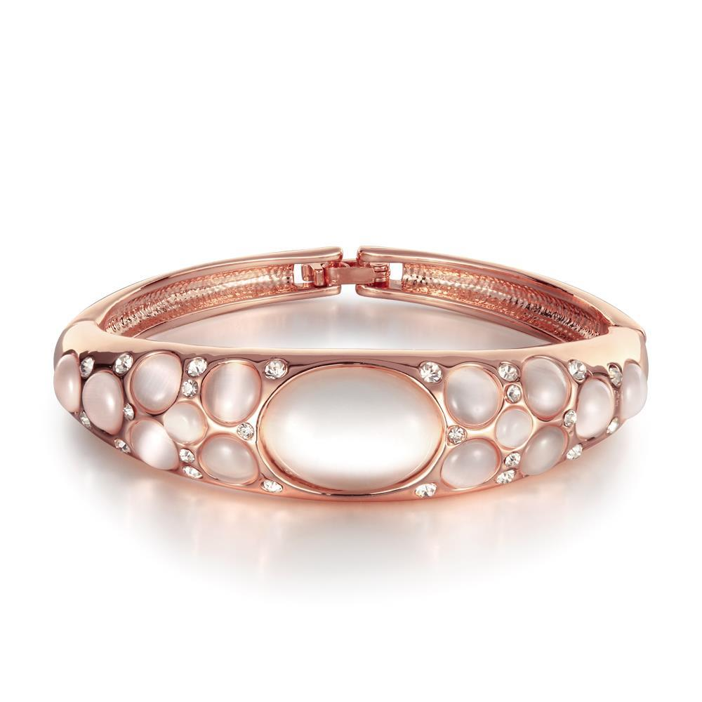 Vienna Jewelry 18K Rose Gold Bangle with Ivory Gems Inlay with Austrian Crystal Elements