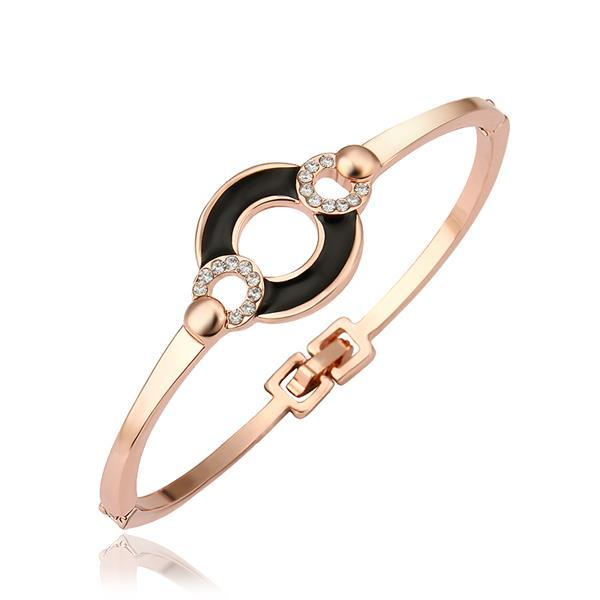 Vienna Jewelry 18K Gold Bangle with Onyx Connector with Austrian Crystal Elements
