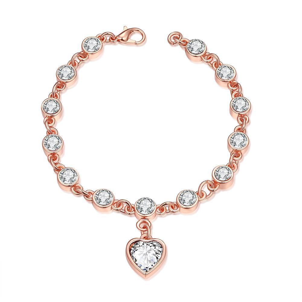 Vienna Jewelry Heart Rose Gold 18K Plated Bracelet