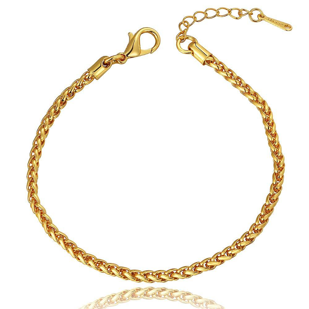 Vienna Jewelry 18K Gold Clean Cut Bracelet with Austrian Crystal Elements