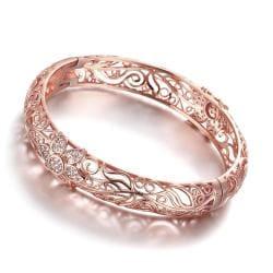 Vienna Jewelry Rose Gold Plated Laser Cut Matrix Ingrain Bangle - Thumbnail 0