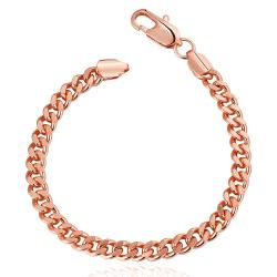 Vienna Jewelry 18K Rose Gold Thick Cut Bracelet with Austrian Crystal Elements
