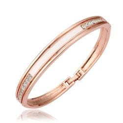 Vienna Jewelry 18K Gold Bangle with Ivory Plate Ingrained with Austrian Crystal Elements