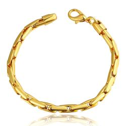 Vienna Jewelry 18K Gold Greek Bracelet with Austrian Crystal Elements