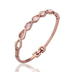 Vienna Jewelry 18K Rose Gold Mini Circles Bangle with Austrian Crystal Elements - Thumbnail 0
