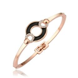 Vienna Jewelry 18K Gold Bangle with Onyx Connector with Austrian Crystal Elements - Thumbnail 0