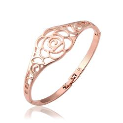 Vienna Jewelry 18K Rose Gold Hollow Rose Petals Bangle with Austrian Crystal Elements