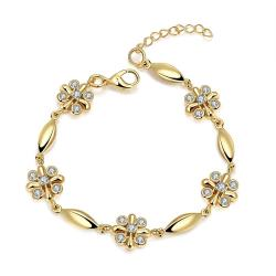 Vienna Jewelry 18K Gold Rose Petals Emblem Bracelet with Austrian Crystal Elements