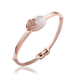 Vienna Jewelry 18K Gold Rose Petal & Natural Gemstone Bangle with Austrian Crystal Elements - Thumbnail 0