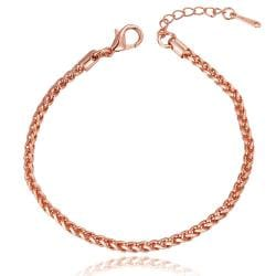 Vienna Jewelry 18K Rose Gold Thin Lay Bracelet with Austrian Crystal Elements