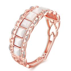 Vienna Jewelry 18K Rose Gold Bangle with Coral Gemstones with Austrian Crystal Elements - Thumbnail 0