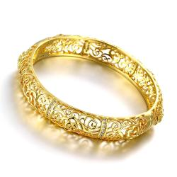 Vienna Jewelry Gold Plated Hollow Ingrain Classic Bangle