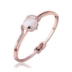 Vienna Jewelry 18K Rose Gold Natural Gemstone Centerpiece Bangle with Austrian Crystal Elements - Thumbnail 0