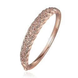 Vienna Jewelry 18K Rose Gold Covered with Crystal Jewels Bangle with Austrian Crystal Elements
