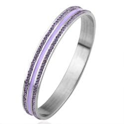 Vienna Jewelry 18K White Gold Bangle with Lavender Jewels Ingrained with Austrian Crystal Elements - Thumbnail 0