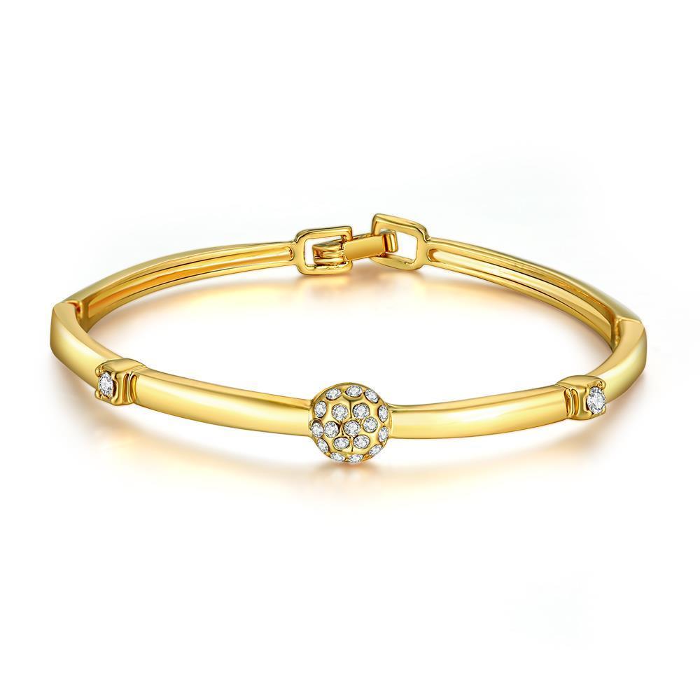 Vienna Jewelry 18K Gold Plated Crystal Pave Bracelet