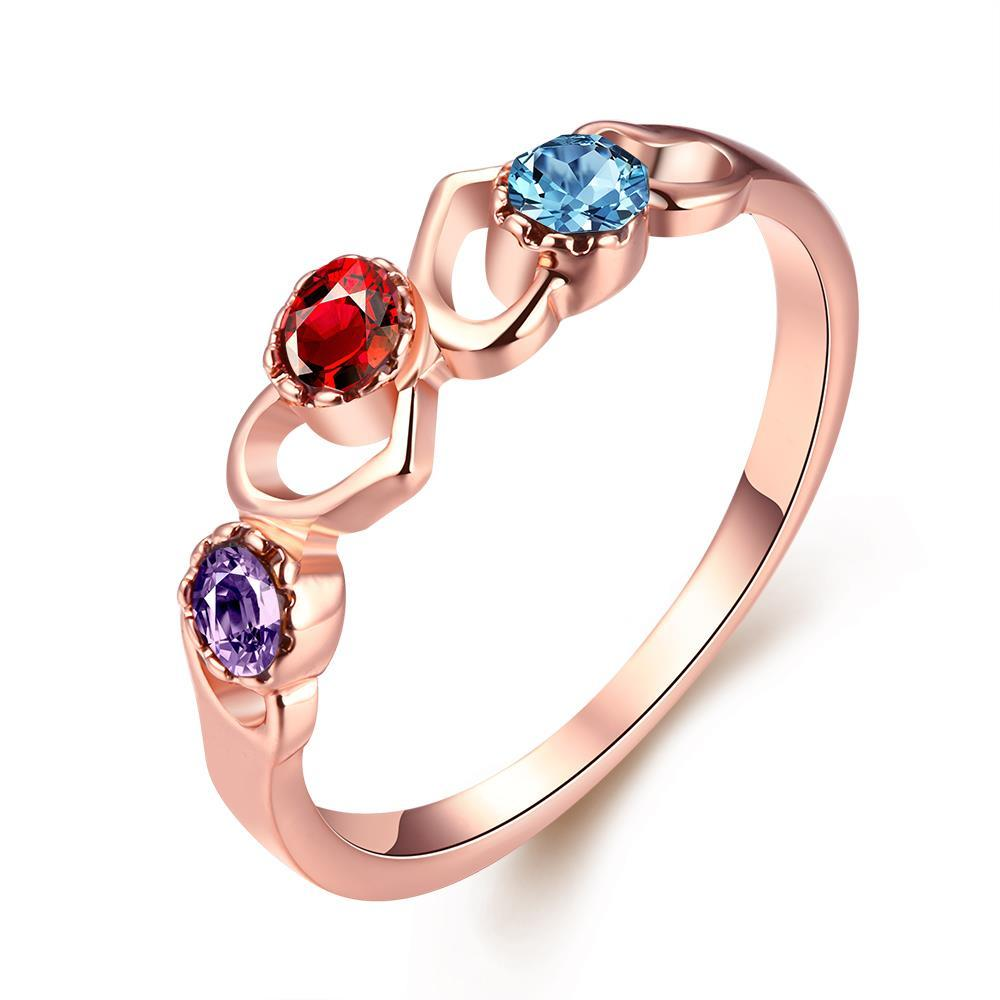 Vienna Jewelry 18K Rose Gold Plated Triple Stone Ring Size 7