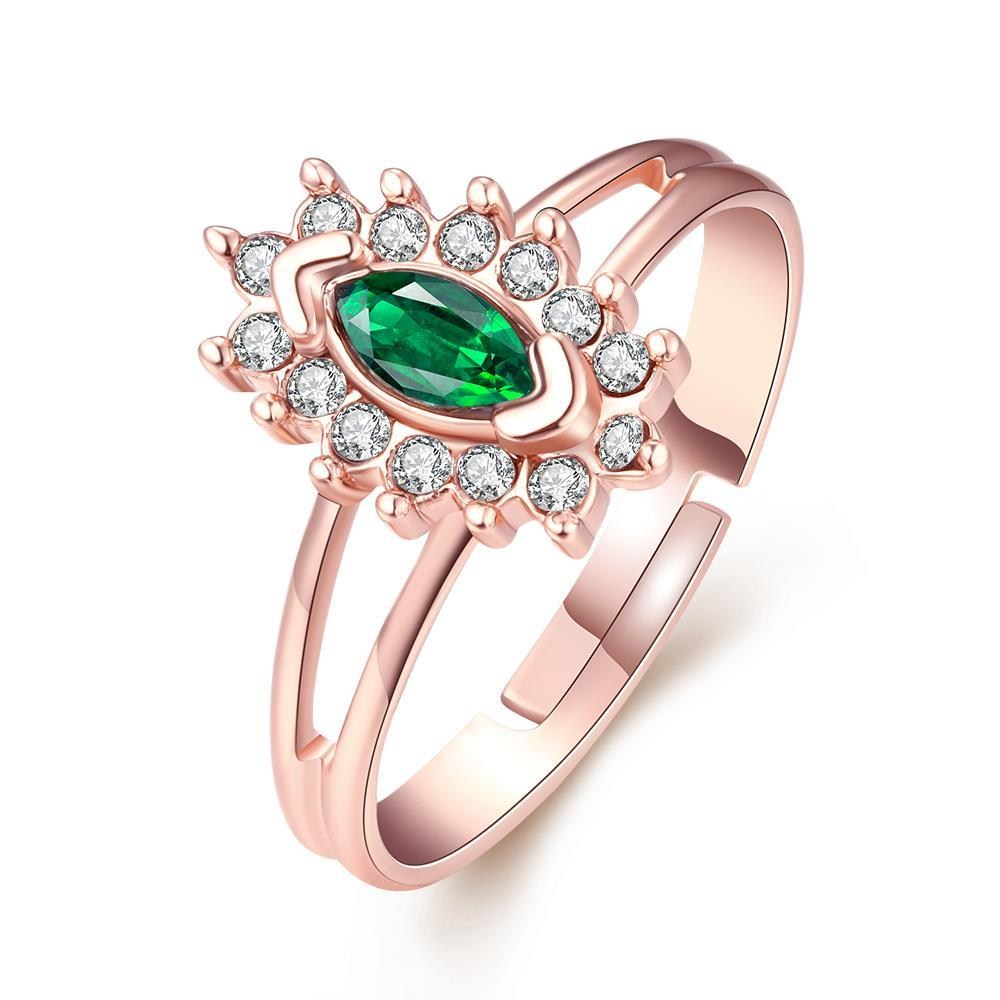 Vienna Jewelry 18K Rose Gold Plated Emerald Balace Life Ring Size 7