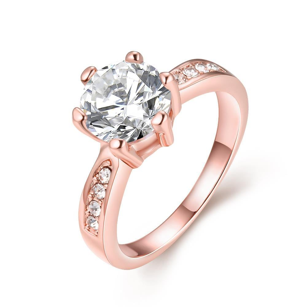 Vienna Jewelry 18K Rose Gold Plated 6Ct Simulated Diamond Ring Size 7