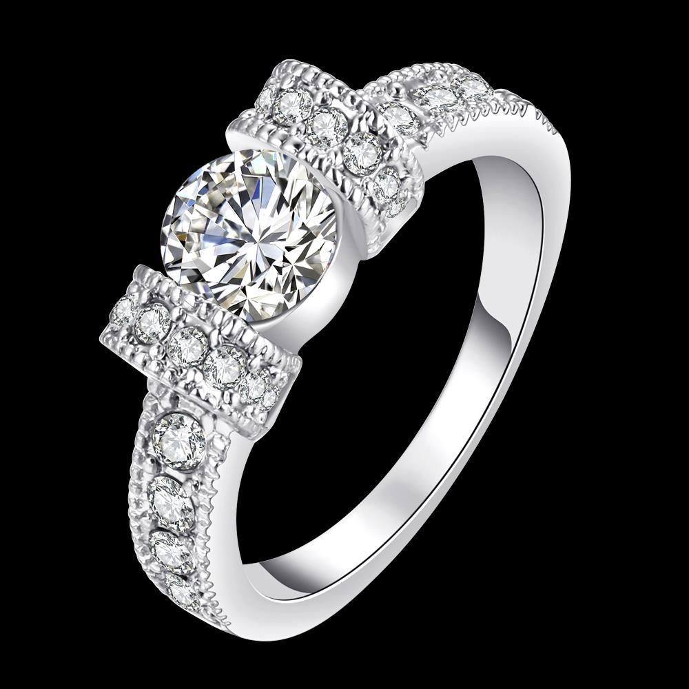 Vienna Jewelry 18K White Gold-Plated Italian-Cut Eternity Ring Size 8