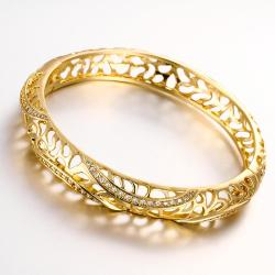 Vienna Jewelry Gold Plated Raise The Bar Bangle