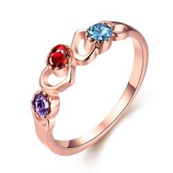 Vienna Jewelry 18K Rose Gold Plated Triple Stone Ring Size 8 - Thumbnail 0