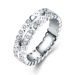 Vienna Jewelry 18K White Gold-Plated Italian-Cut Eternity Ring Size 8 - Thumbnail 0