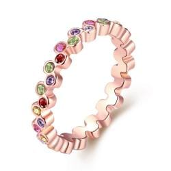 Vienna Jewelry Multi-Color Eternity Ring 18K Rose Gold-Plated Size 8 - Thumbnail 0
